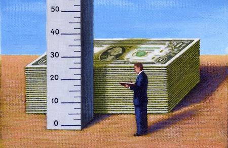 Man Measuring Money