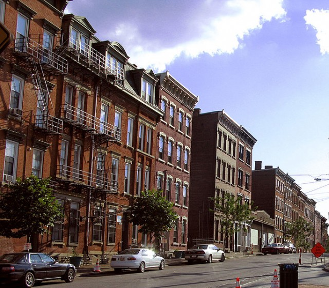 row of apartment buildings