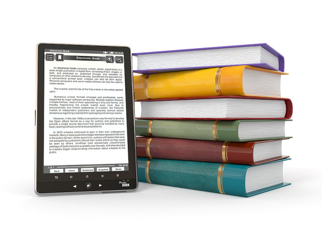 bigstock_E-book_reader_Books_and_table_30660962