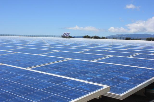 Solar Panel Sunset_ Reservoir
