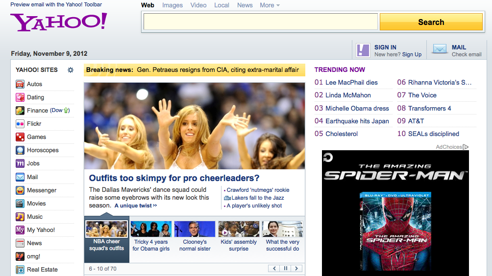 Yahoo Hompage