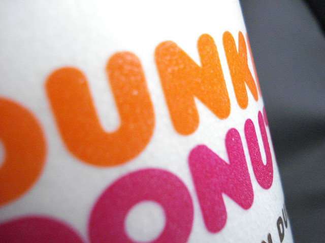 A Dunkin' Donuts cup