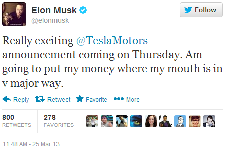 Twitter - elonmusk- Really exciting @TeslaMotors ...