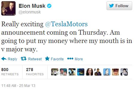 Twitter - elonmusk- Really exciting @TeslaMotors ...