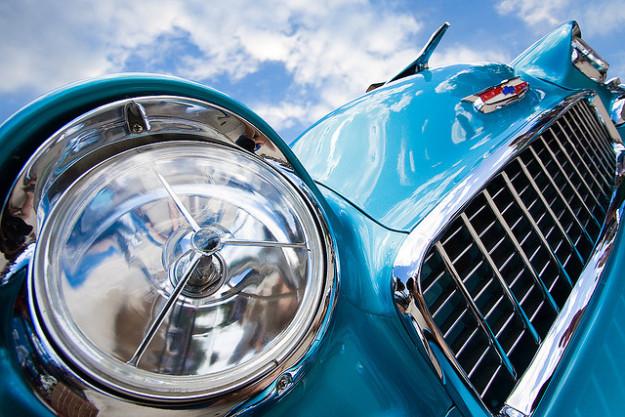 blue ford mustang closeup