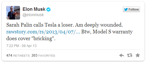 Elon Musk Responds to Sarah Palin's Claim That Tesla Is a 'Loser'
