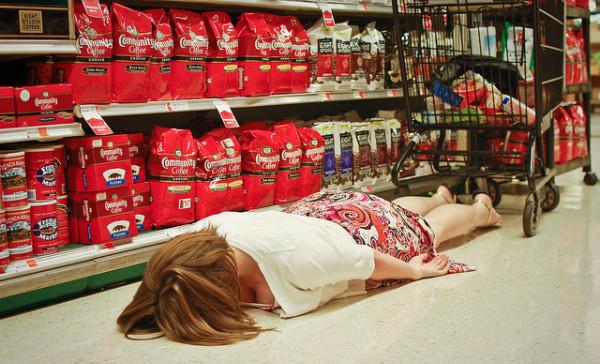 retail shopping tired