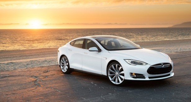 Tesla Model S on Beach