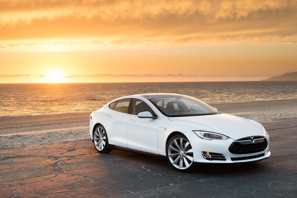 Tesla Model S on Beach