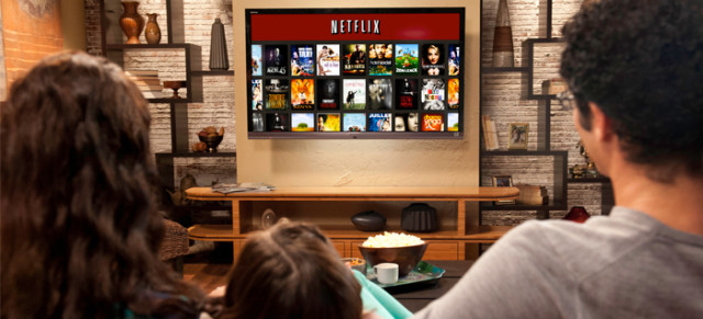 Family watching Netflix