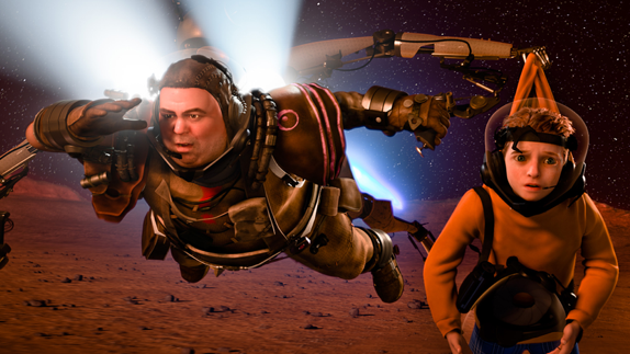 A man in a suit and a young boy in space in Disney's Mars Needs Moms