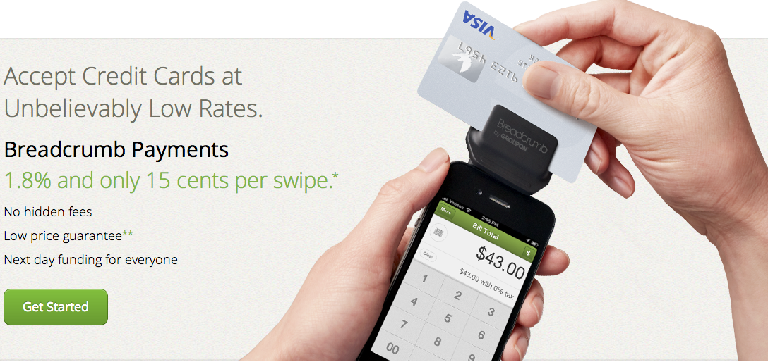 Groupon Breadcrumb credit card swiping