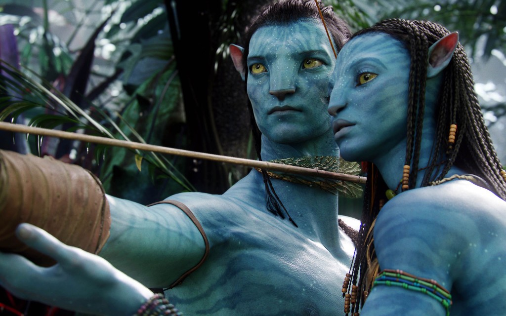 """Jake Sully drawing his bow back, with Neytiri standing close to instruct him in """"Avatar"""""""
