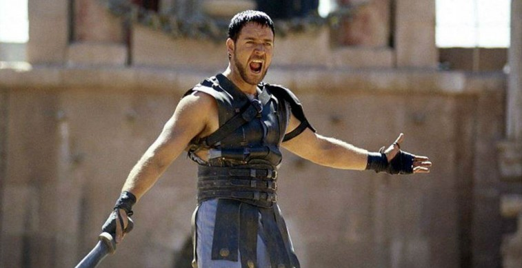 Russell Crowe prepares for battle in a scene from Gladiator