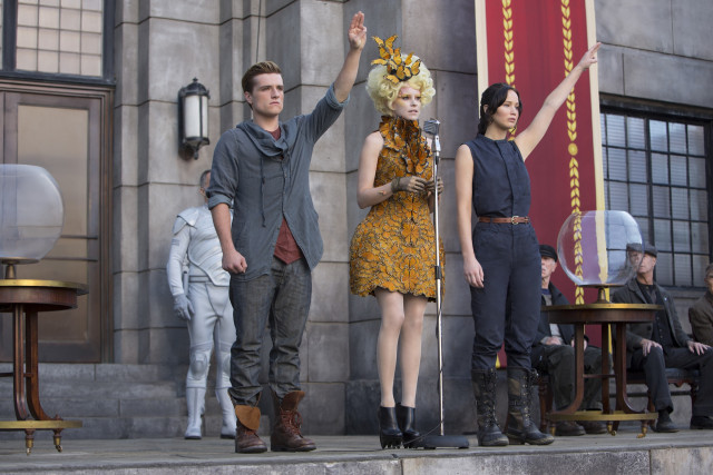 Josh Hutcherson, Elizabeth Banks and Jennifer Lawrence in 'The Hunger Games: Catching Fire.'