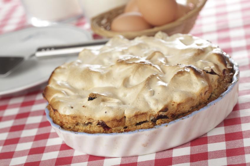 Black bottom cream pie on tablecloth