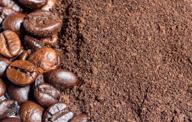 Coffee beans and grounds, leftover coffee