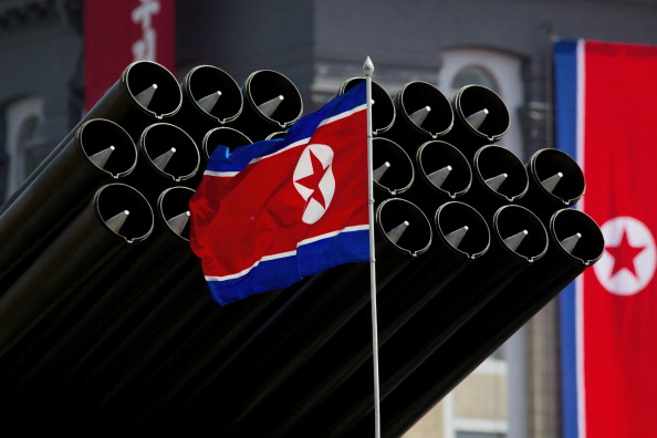 The North Korean flag and weapons