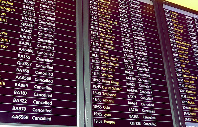 flight cancelled, airport, travel