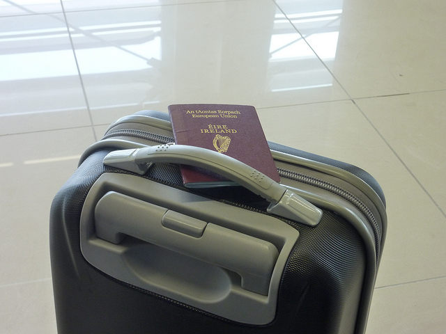 travel, luggage, passport
