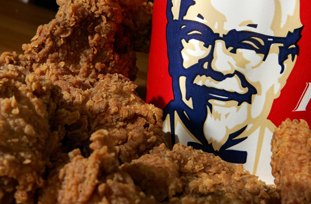 KFC chicken and bucket, which tests positive for fluorine