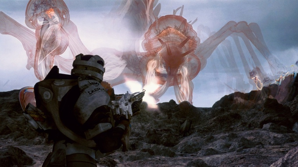 Mystical creatures in teh sky while a man in armor points a gun at them in Final Fantasy: The Spirits Within