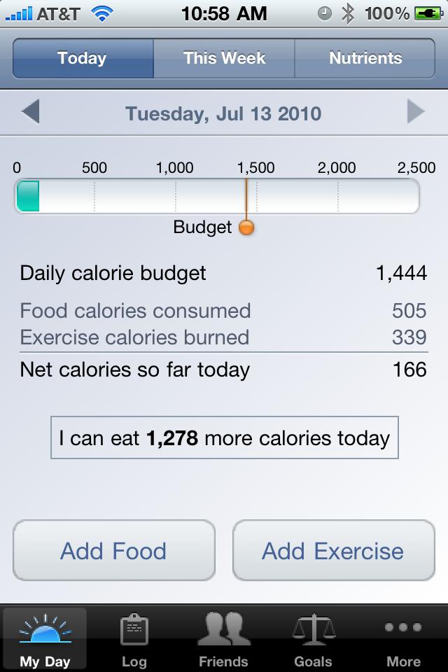 Lose It app, exercise