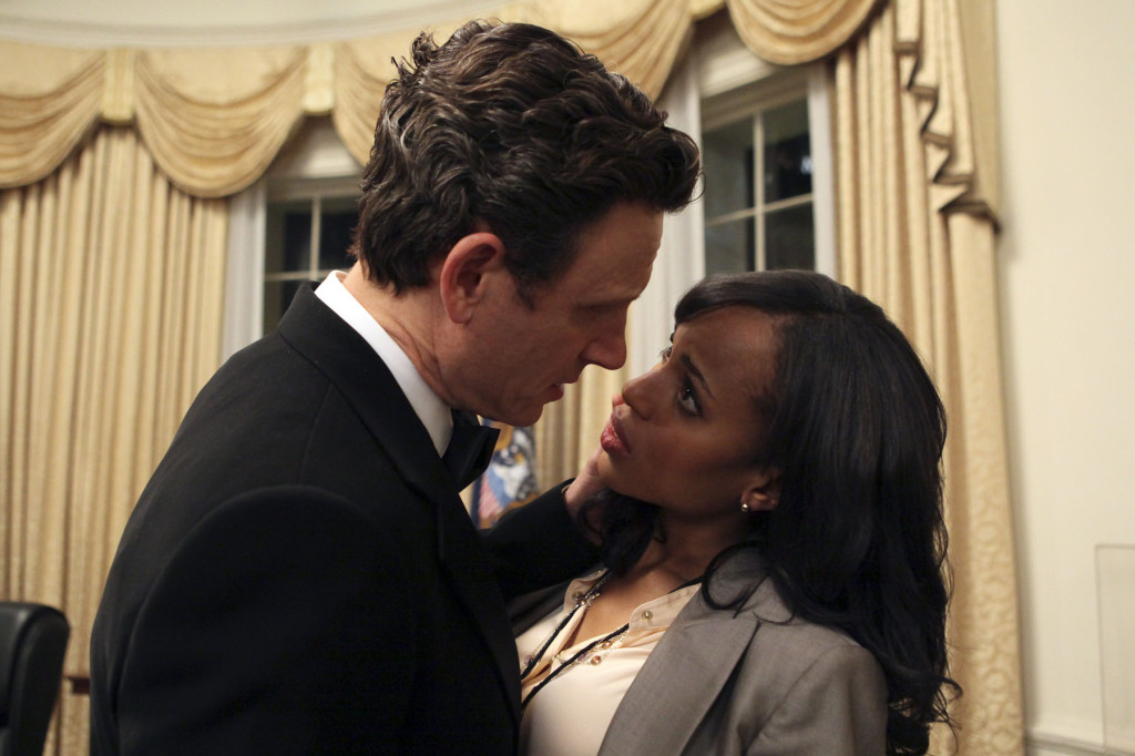 Fitz and Olivia up against a wall, preparing to kiss