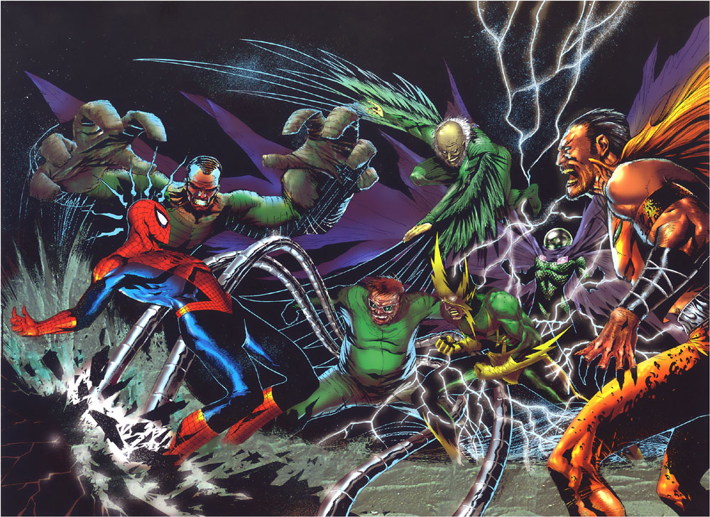 Vulture and other members of the Sinister Six fighting Spider-Man