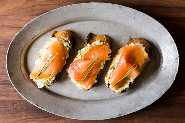 Source: http://food52.com/recipes/12841-smoked-salmon-on-mustard-chive-and-dill-butter-toasts
