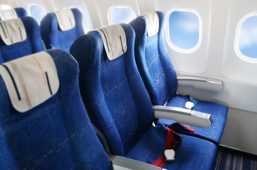 Airplane interior, seats