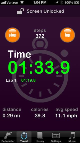 Pedometer HD Lite app