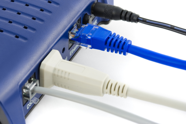 Cables inserted into a router
