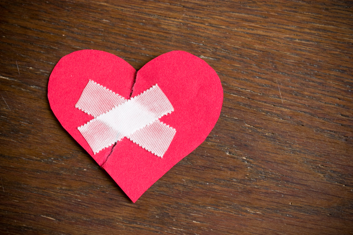 Heart with tape over it