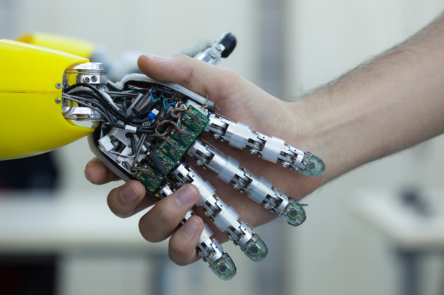 shaking hands with robot