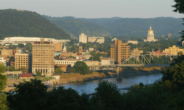 view of the city, mountains, and water in Charleston, West Virginia
