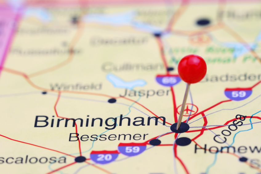 Birmingham, Alabama marked on a map with a pin