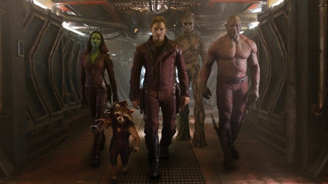 Zoe Saldana, Chris Pratt and Dave Bautista in Guardians of the Galaxy | Source: Marvel