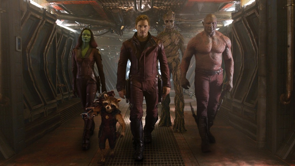 The Guardians of the Galaxy group walk down a hallway together
