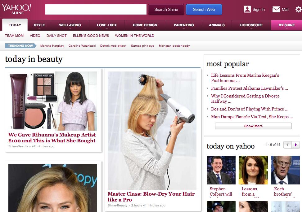 Yahoo Shine, Yahoo Beauty