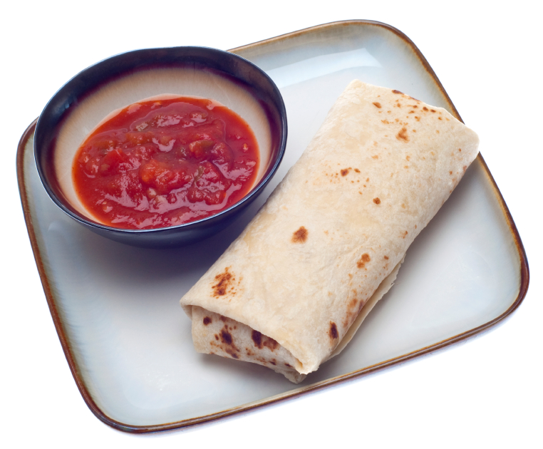A tofu scramble breakfast burrito with a bowl of salsa for dipping
