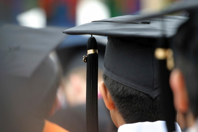 A young student graduating from college