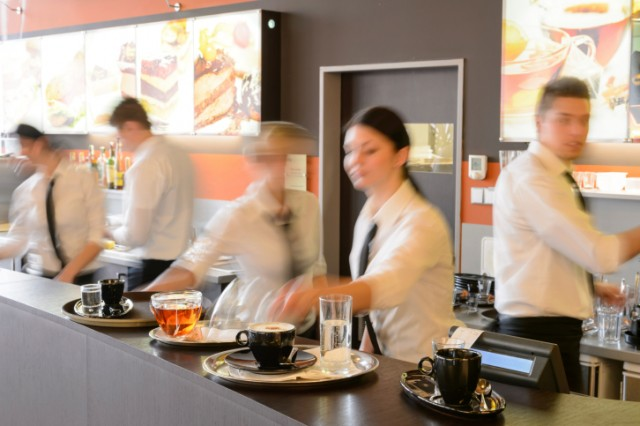 Servers working in a restaurant