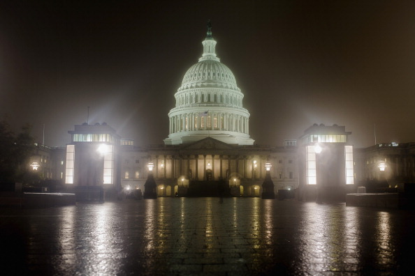 The U.S. Capitol at night