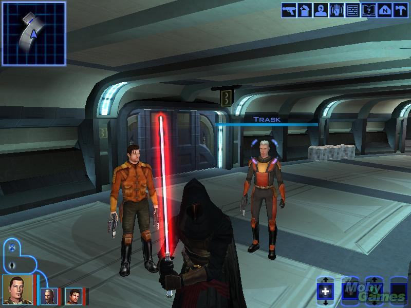 A cloaked man with a lightsaber stands ready to fight.