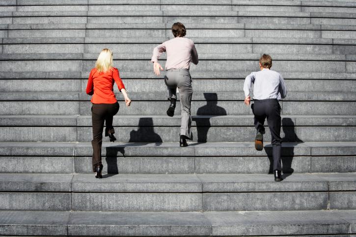 people climbing steps