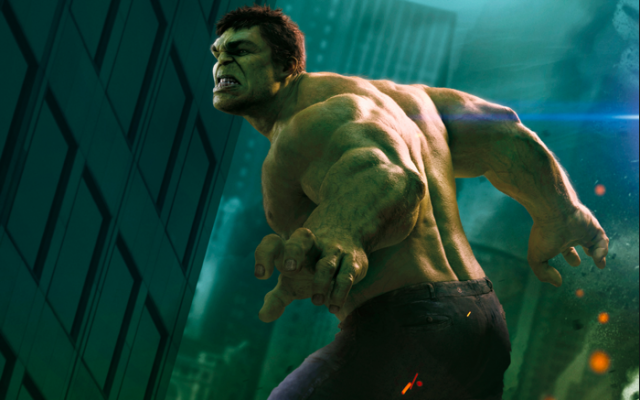 The Hulk with his side turned to the camera, with his hands out