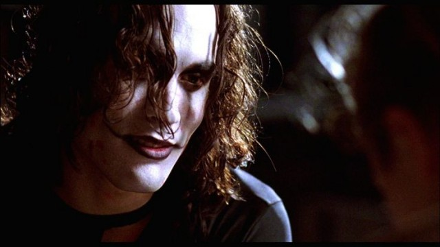 Brandon Lee stares ahead in The Crow