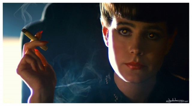 Sean Young smoking a cigarette in Blade Runner
