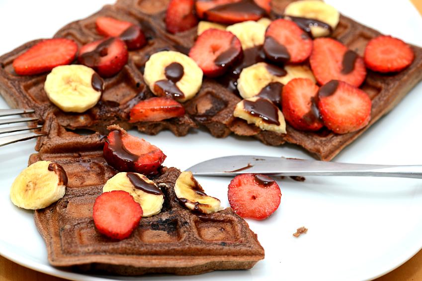 Chocolate waffle, bananas, strawberries